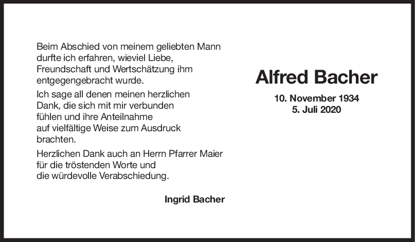 Danksagung Alfred Bacher <br><p style=