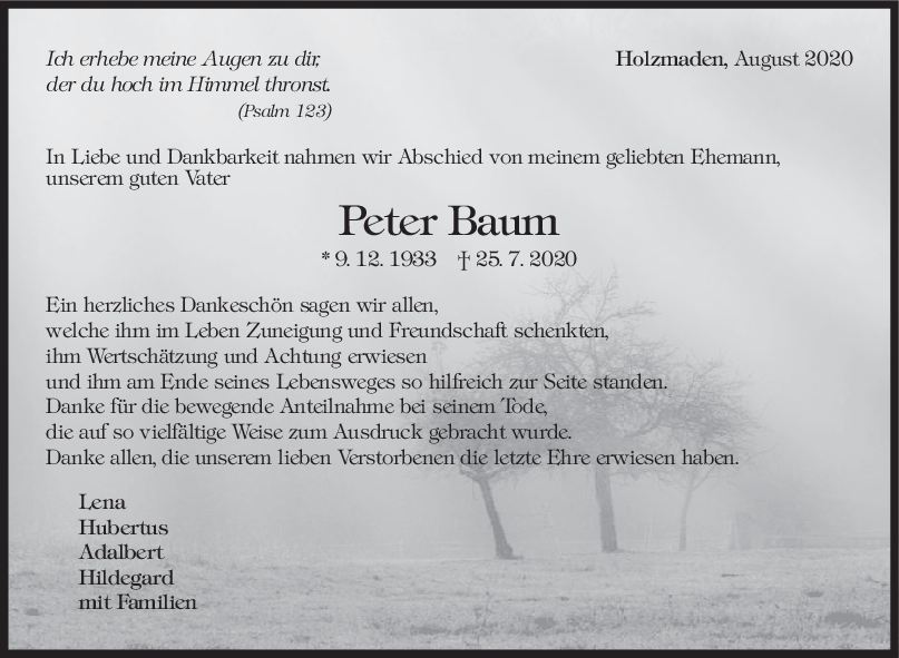 Trauer/ Danksagung Peter Baum <br><p style=