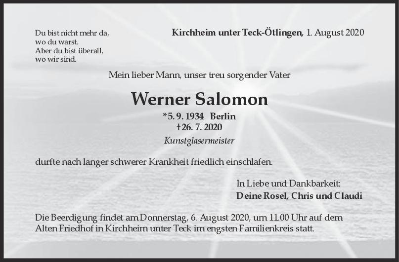 Trauer Werner Salomon <br><p style=