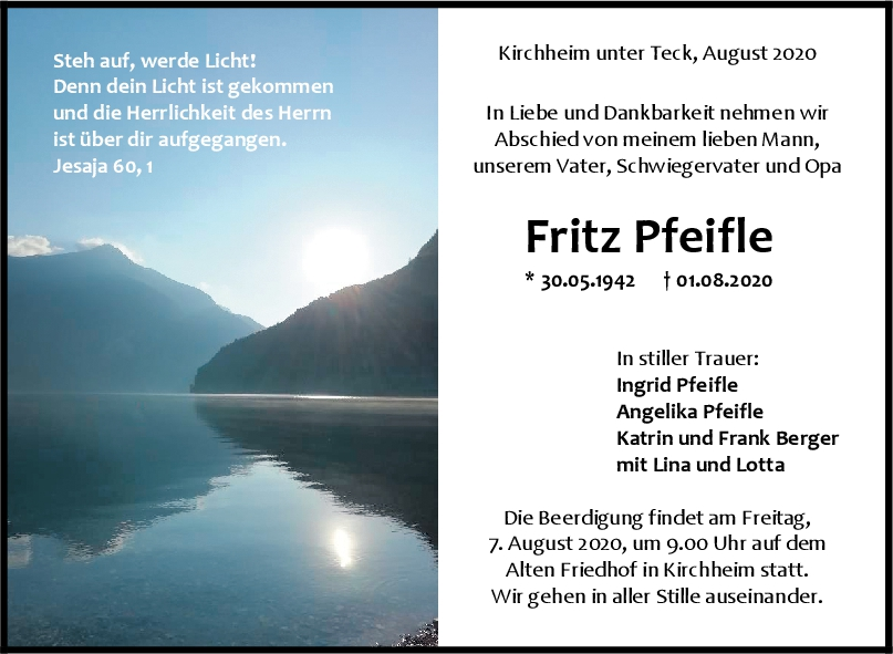 Trauer Fritz Pfeifle <br><p style=