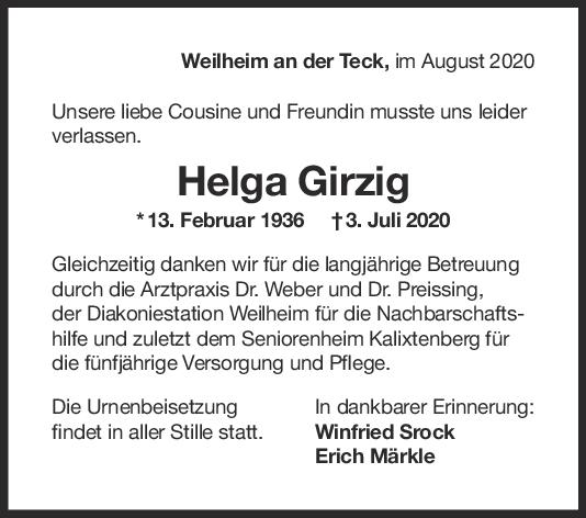Trauer Helga Girzig <br><p style=