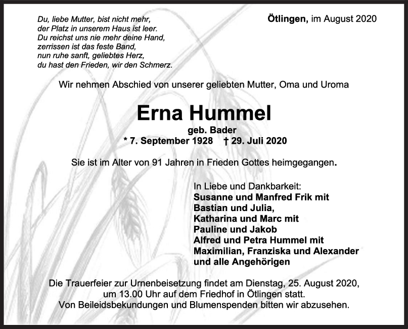 Trauer Erna Hummel <br><p style=