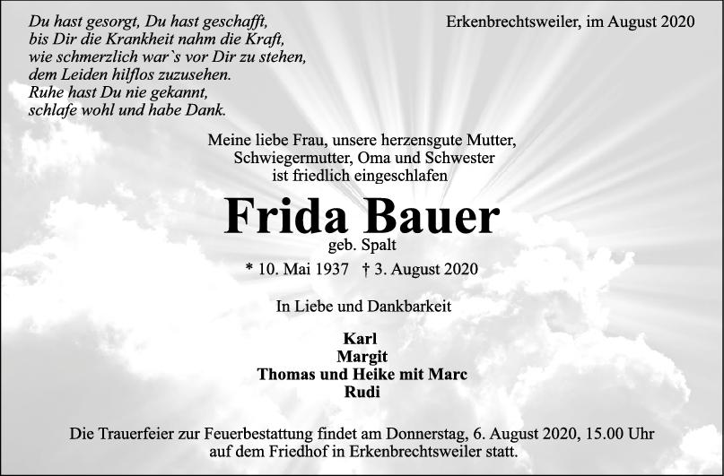Trauer Frida Bauer <br><p style=