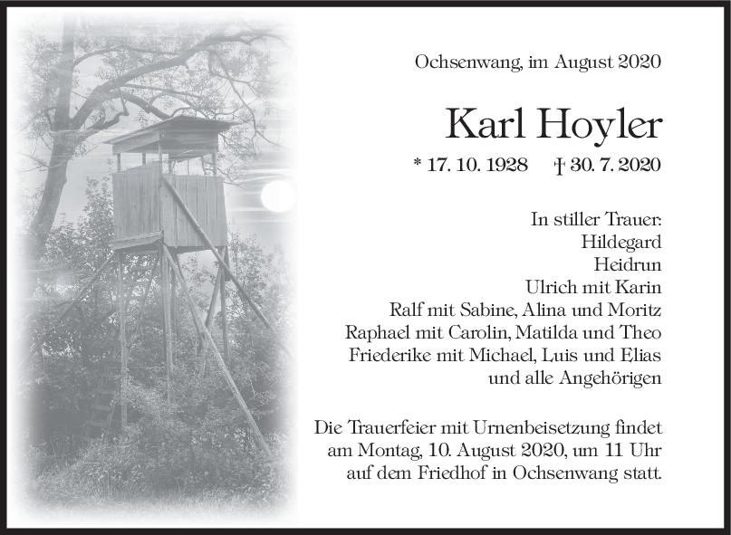 Trauer Karl Hoyler <br><p style=