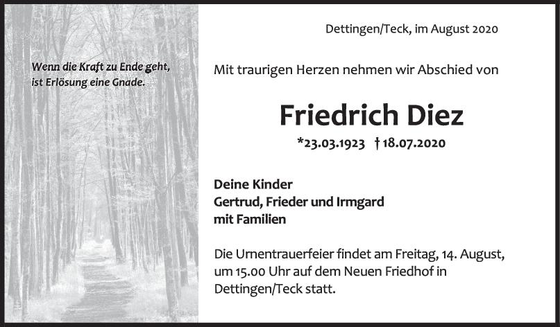Trauer Friedrich Diez <br><p style=