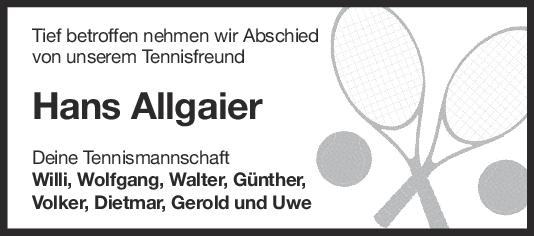 Nachruf Hans Allgaier <br><p style=