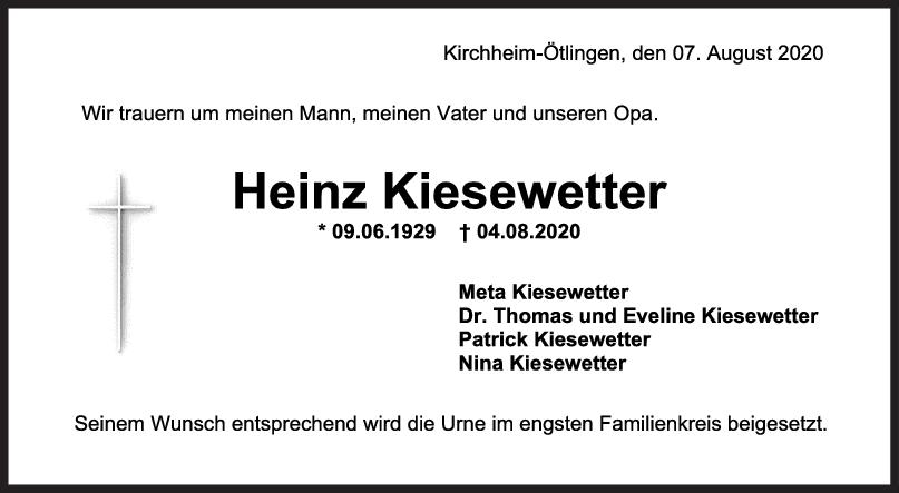 Trauer Heinz Kiesewetter <br><p style=