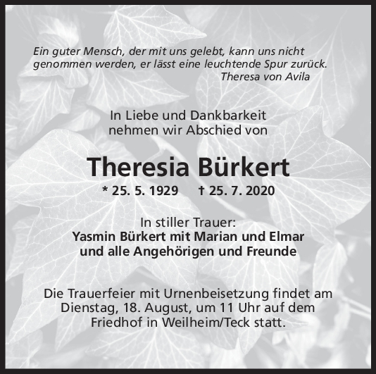 Trauer Theresia Bürkert <br><p style=