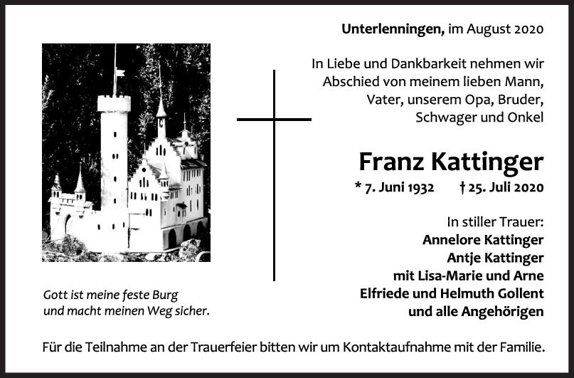 Trauer Franz Kattinger <br><p style=