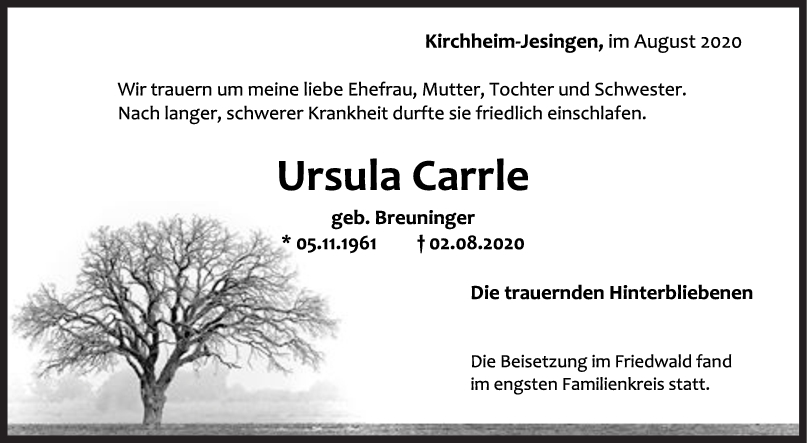Trauer Ursula Carrle <br><p style=