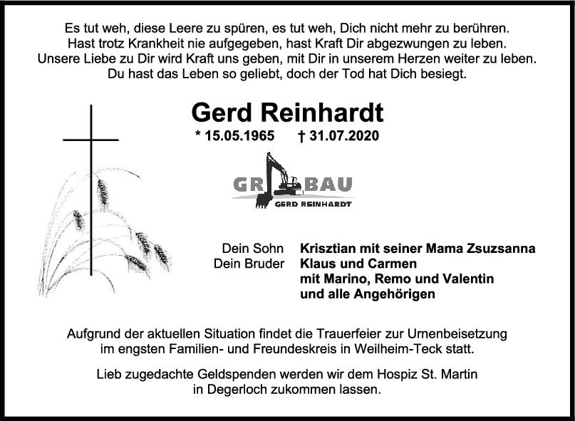 Trauer Gerd Reinhardt <br><p style=
