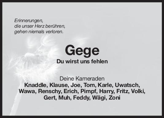 Nachruf Gege - Kameraden <br><p style=