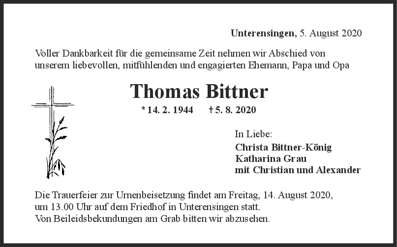 Trauer Thomas Bittner <br><p style=