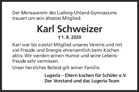 Nachruf Karl Schweizer <br><p style=