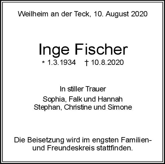 Trauer Inge Fischer <br><p style=