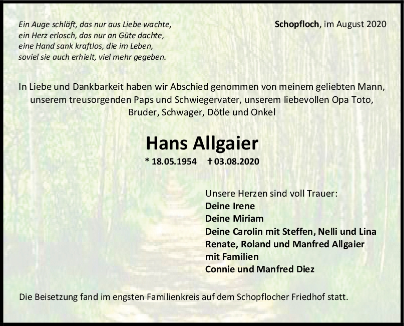 Trauer Hans Allgaier <br><p style=