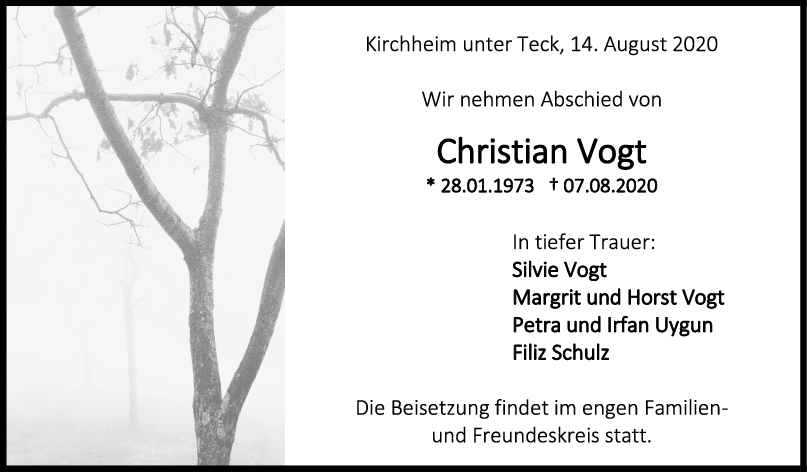 Trauer Christian Vogt <br><p style=