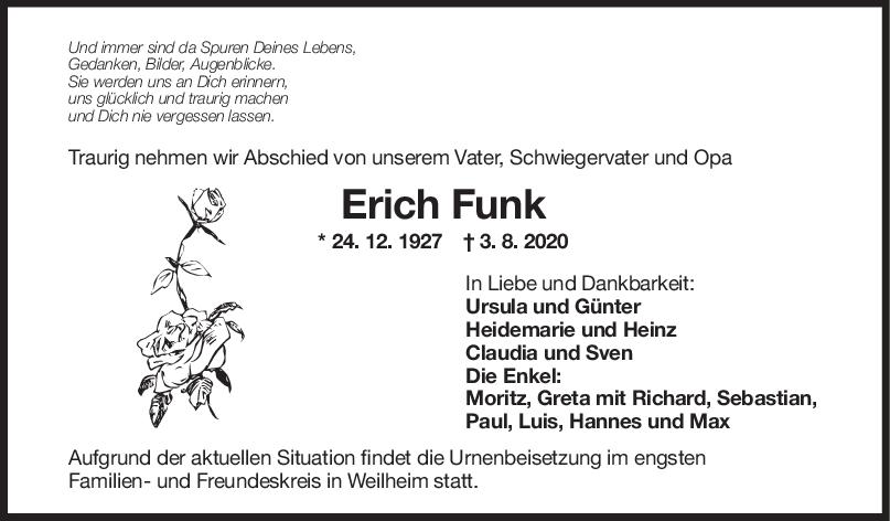 Trauer Ernst Funk <br><p style=