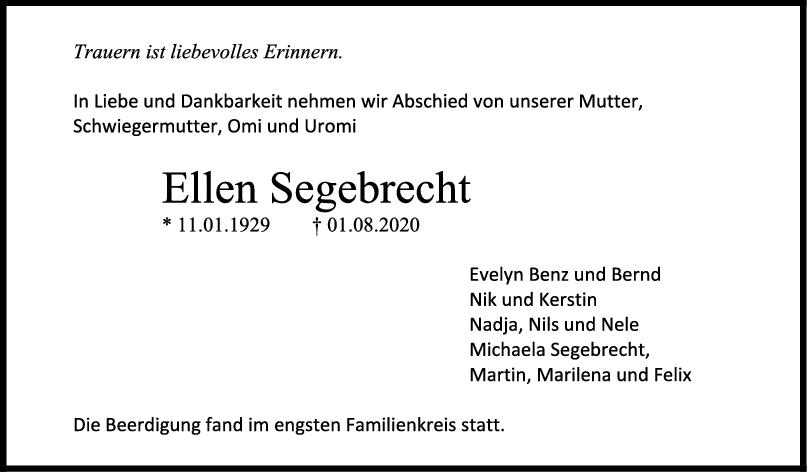 Trauer Ellen Segebrecht <br><p style=