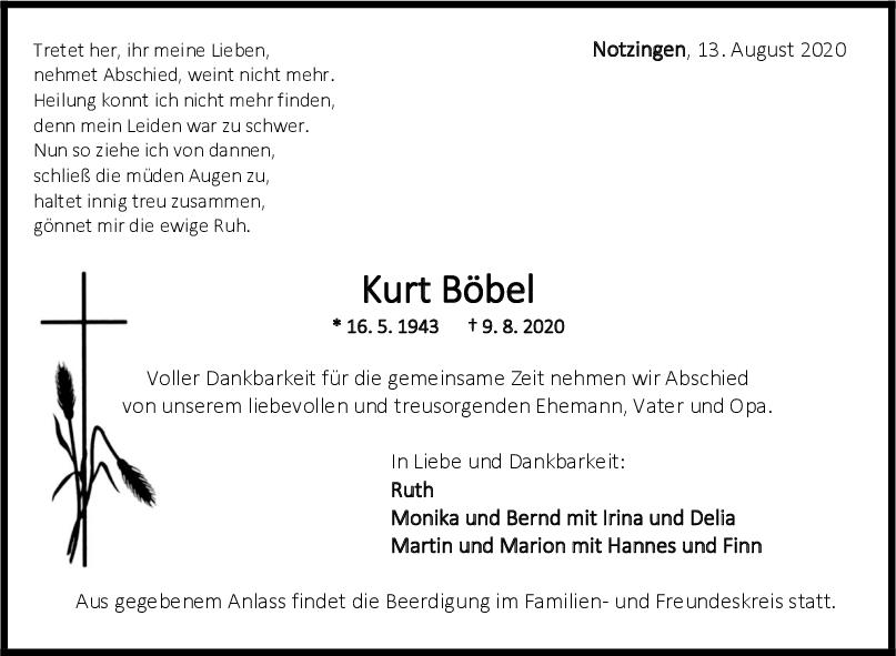 Trauer Kurt Böbel <br><p style=