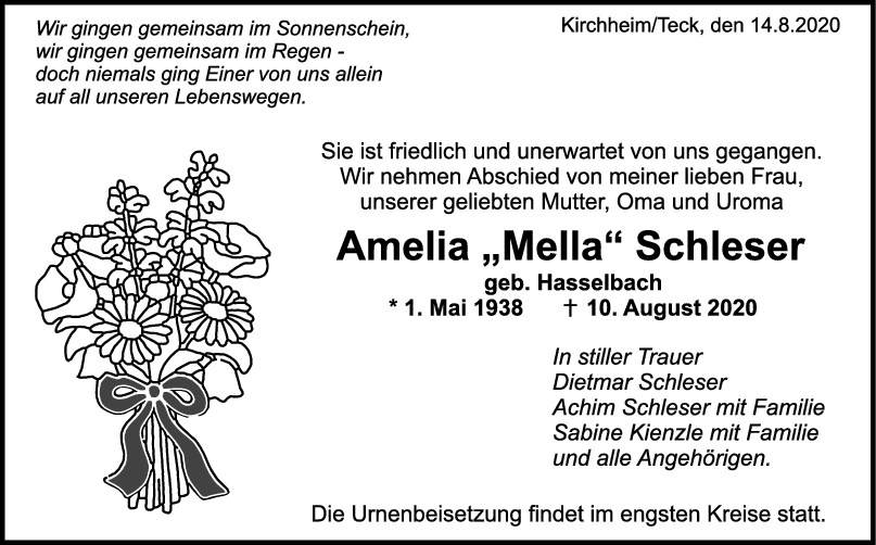 Trauer Amelia Schleser <br><p style=