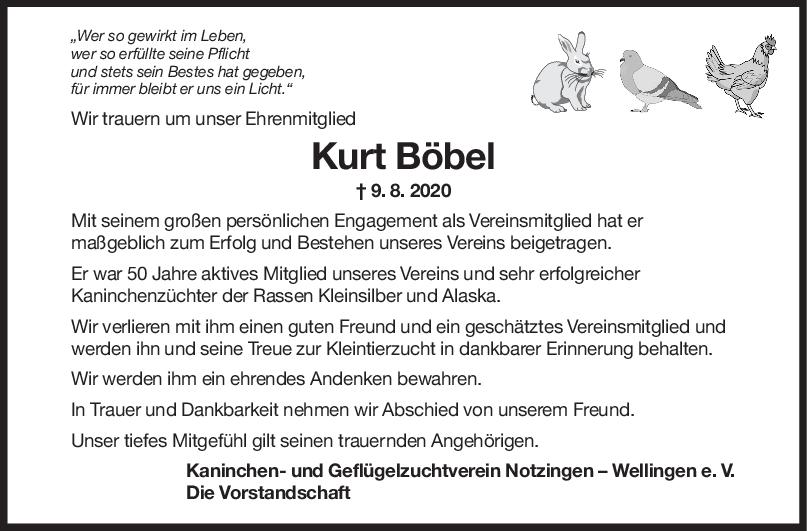 Nachruf Kurt Böbel <br><p style=
