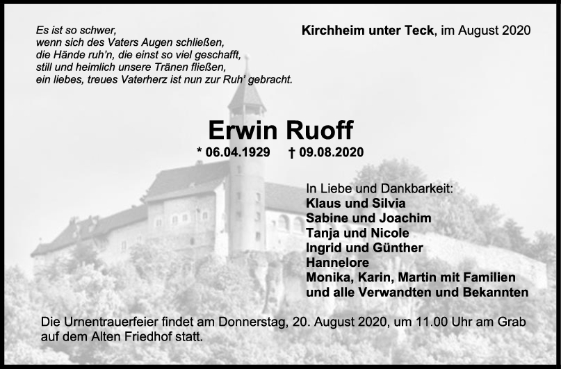 Trauer Erwin Ruoff <br><p style=
