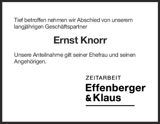 Nachruf Ernst Knorr <br><p style=