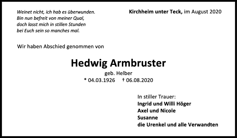 Trauer Hedwig Armbruster <br><p style=