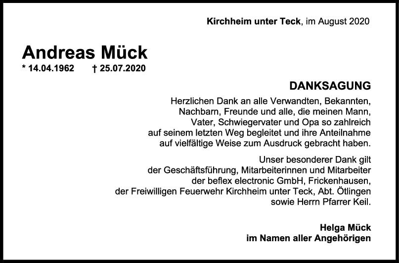 Danksagung Andreas Mück <br><p style=