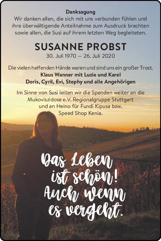 Danksagung Susanne Probst<br><p style=