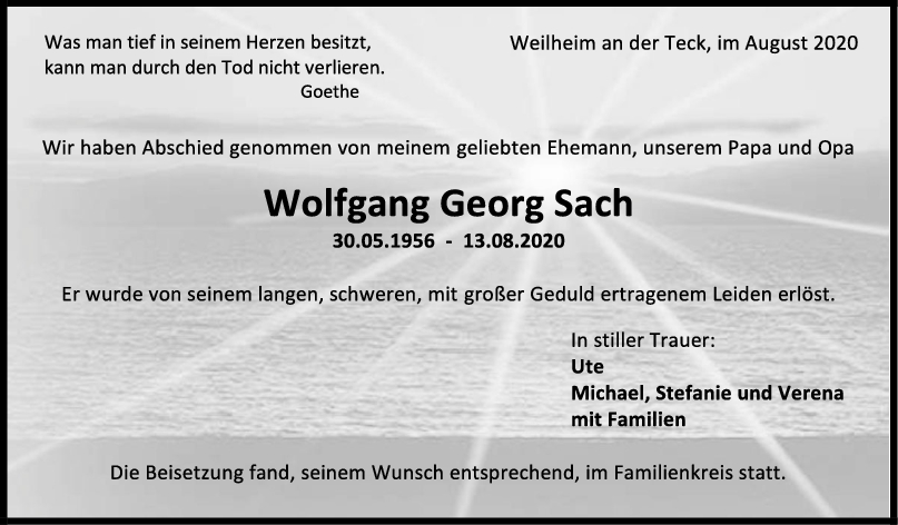 Trauer Wolfgang Georg Sach <br><p style=