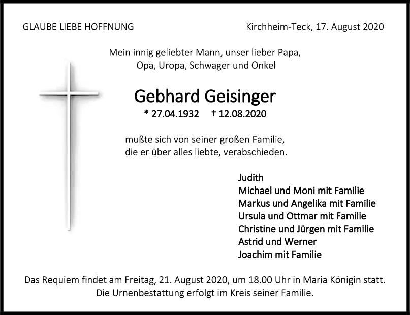 Trauer Gebhard Geisinger <br><p style=