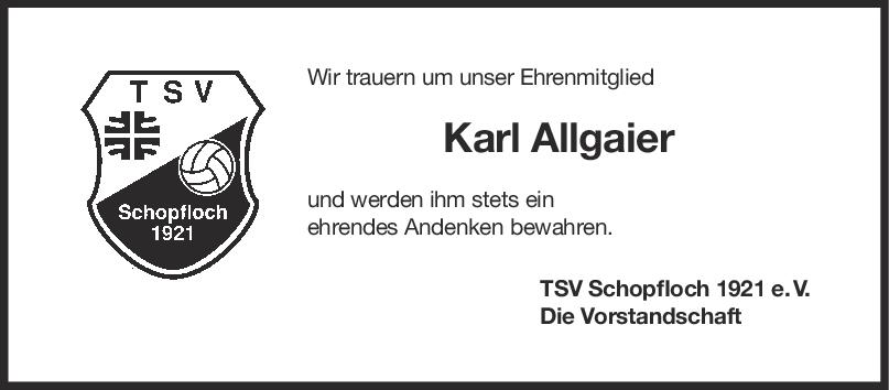 Nachruf Karl Allgaier <br><p style=