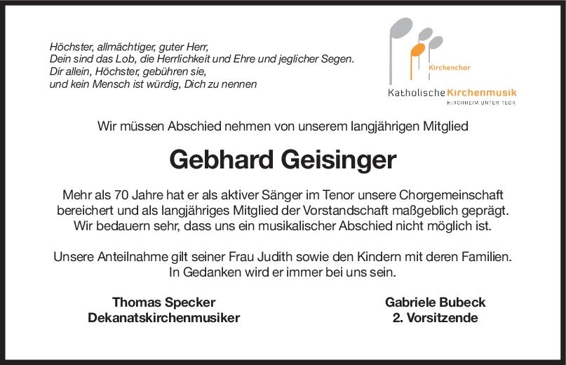 Nachruf Gebhard Geisinger <br><p style=