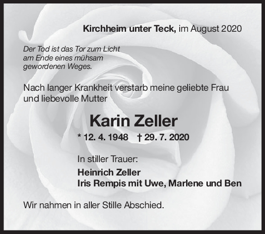Trauer Karin Zeller <br><p style=