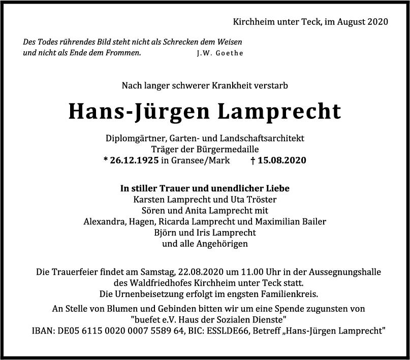Trauer Hans-Jürgen Lamprecht <br><p style=