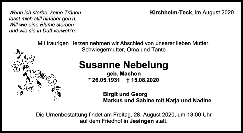 Trauer Susanne Nebelung <br><p style=