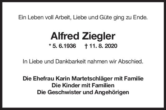 Trauer Alfred Ziegler <br><p style=
