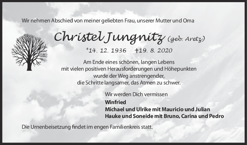 Trauer Christel Jungnitz <br><p style=
