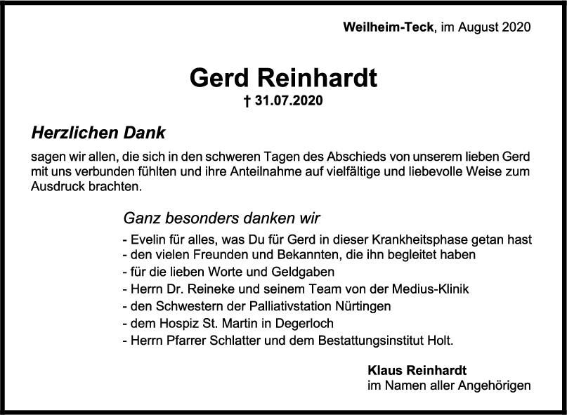 Danksagung Gerd Reinhardt <br><p style=