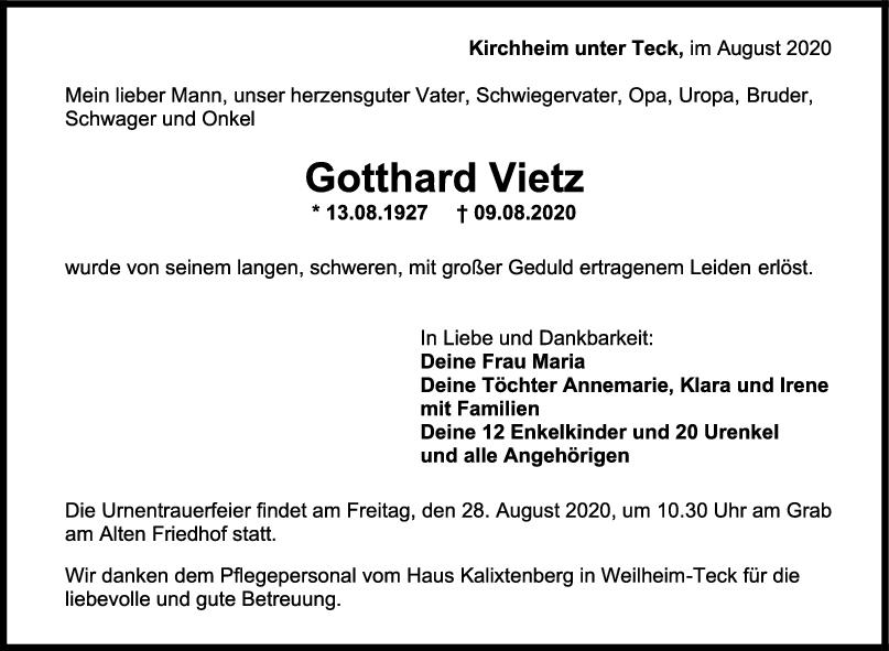 Trauer Gotthard Vietz <br><p style=