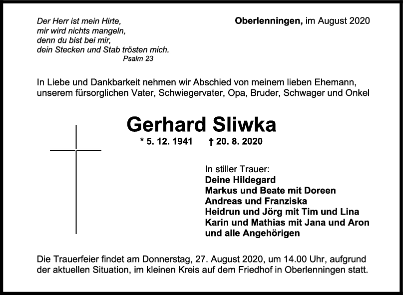 Trauer Gerhard Sliwka <br><p style=