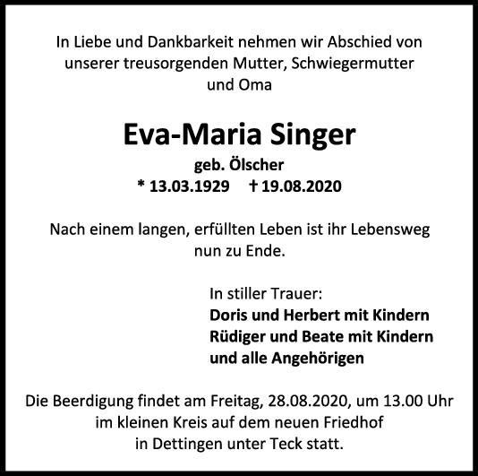 Trauer Eva-Maria Singer <br><p style=