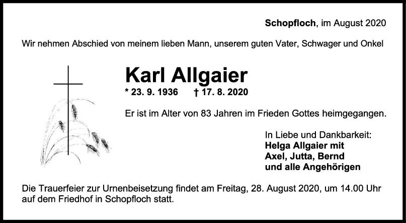 Trauer Karl Allgaier <br><p style=