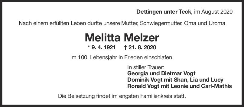 Trauer Melitta Melzer <br><p style=