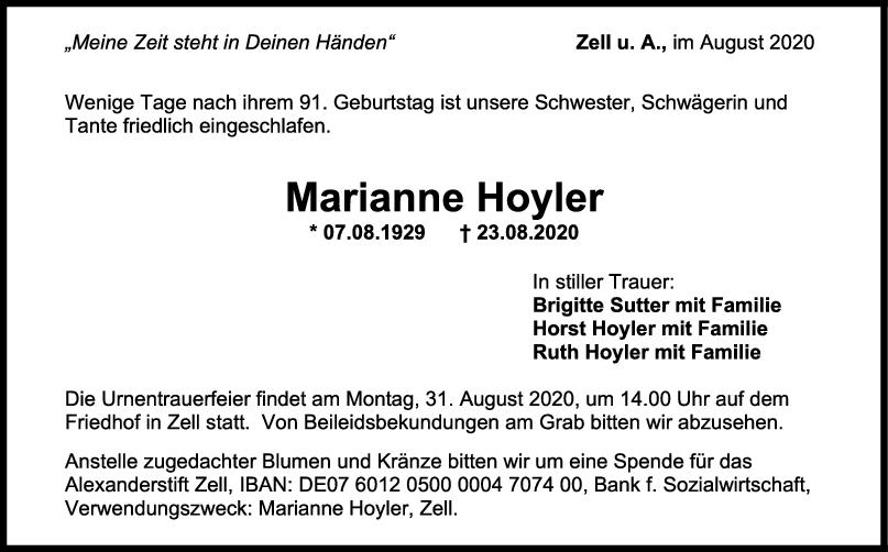 Trauer Marianne Hoyler <br><p style=