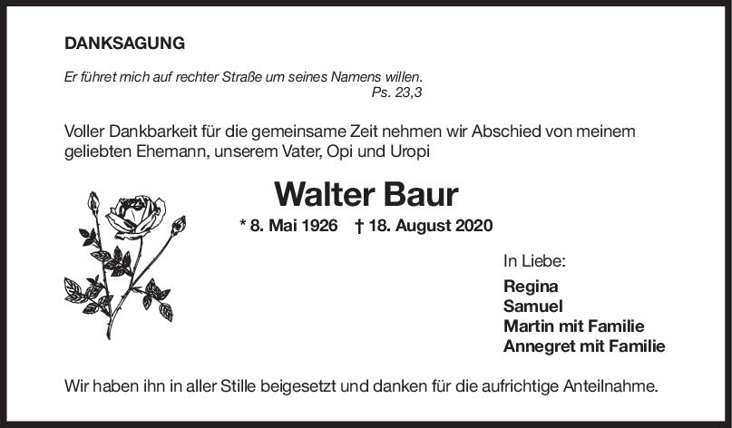 Danksagung Walter Baur <br><p style=