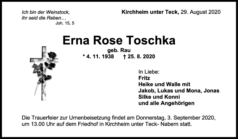Trauer Erna Rose Toschka <br><p style=