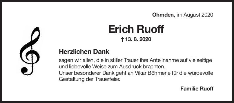Danksagung Erich Ruoff <br><p style=
